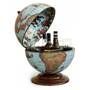 Desk globe with drinks cabinet Blue Ocean