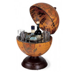 Desk globe with small drinks holder